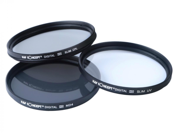 K&F Concept 62mm UV+POL+ND4 Filtre Kiti SKU1504